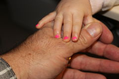 Baby and Grandfather Hands. A baby girl with pink painted fingernails holds a grandfather's hand royalty free stock photo