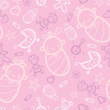 Baby girl pink seamless pattern background. Vector baby girl pink seamless pattern background with hand drawn elements Royalty Free Stock Images