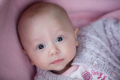 A baby girl in pink Stock Images