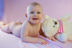 Baby girl pink teddy bear Stock Photos