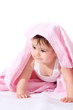 Baby girl with pink towel Stock Photography