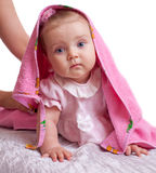 Baby girl with pink towel on white background Stock Photo