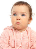 Baby girl in pink woolen sweater Royalty Free Stock Photography