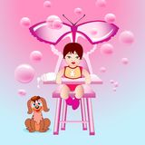 Baby girl in the pink world of happy childhood. Baby girl in a happy fairytale pink world with bubbles and with favorite pet beside royalty free illustration