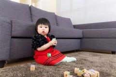 Baby girl play toy block Royalty Free Stock Photos