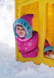 Baby girl play on winter walk Royalty Free Stock Images