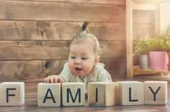 Baby girl playing with blocks Royalty Free Stock Photo