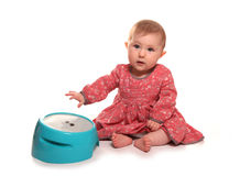 Baby girl playing with drums. Cutout Royalty Free Stock Photos