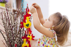 Baby girl playing with easter decoration Royalty Free Stock Photography