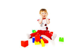 Baby girl is playing with educational toys Royalty Free Stock Photo