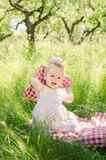 Baby girl playing in garden Stock Photography
