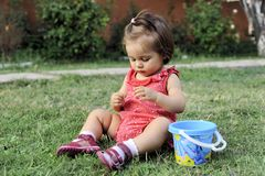 Baby Girl Is Playing On Grass Royalty Free Stock Photography