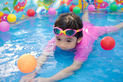 Baby girl playing in kiddie pool. A baby girl in pink suit playing water and balls in blue kiddie pool Stock Photo