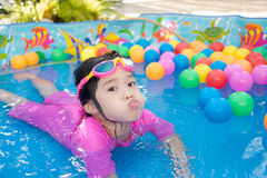 Baby girl playing in kiddie pool. A baby girl in pink suit playing water and balls in blue kiddie pool Royalty Free Stock Photo