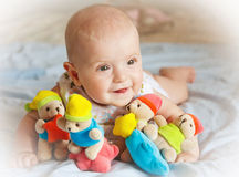 Baby girl playing with toys Stock Photography