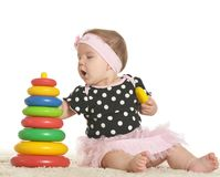 Baby girl playing Stock Images