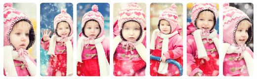 Baby girl playing on winter playground Royalty Free Stock Images