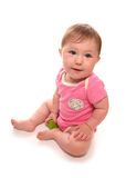 Baby girl playing with wooden block. Cutout Royalty Free Stock Photo