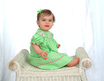 Baby Girl in Polka Dot Dress Stock Photo