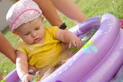 Baby girl in the Pool Royalty Free Stock Photos