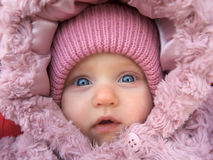 Baby girl portrait. Fase of baby girl in a winter hood royalty free stock photography