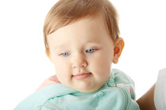 Baby girl portrait isolated on white. Royalty Free Stock Photography