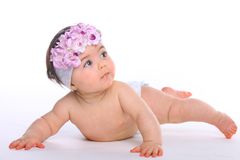Baby Girl Posing on the floor Royalty Free Stock Image