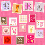 Baby girl postage. Baby girl  postage cute set Royalty Free Stock Images