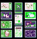 Baby girl postage stamps Royalty Free Stock Photo