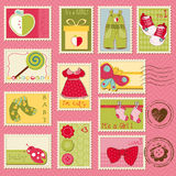 Baby Girl Postage Stamps. For design and scrapbook Stock Photo