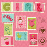 Baby Girl Postage Stamps. Nice Baby Girl Postage Stamps Royalty Free Stock Image