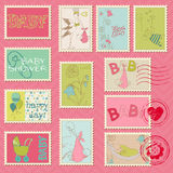 Baby Girl Postage Stamps. For scrapbook, invitation, congratulation Royalty Free Stock Photography