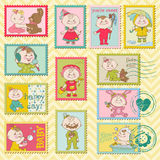 Baby Girl Postage Stamps. For scrapbook, invitation, congratulation Royalty Free Stock Photo