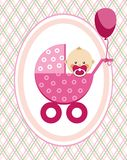 Baby, girl, postcard, pink lines, rhombuses, vector. A little girl in a pink stroller. A pink balloon is tied to the stroller. Color, flat card. Congratulation Royalty Free Stock Photography