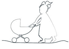 Baby girl with toy pram. Baby girl in a long dress with a ribbon pulls toy pram Royalty Free Stock Photos