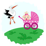 Baby girl in a pram and stork beside her Royalty Free Stock Photos