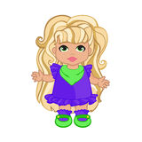 Baby Girl In Puple Dress. Vector illustration of beautiful baby in purple dress Royalty Free Stock Photo