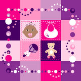 Baby Girl Quilt. Vector Illustration of baby girl quilt. Patchwork or sewing, background Royalty Free Stock Image