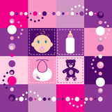 Baby Girl Quilt 2. Vector Illustration of baby girl quilt 2. Patchwork or sewing, background Stock Image