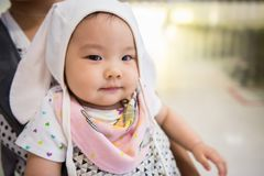 baby girl with rabbit ears costume royalty free stock photos