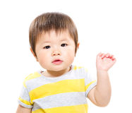 Baby girl raise hand up Royalty Free Stock Images