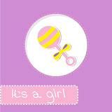 Baby girl rattle. Shower card Stock Photography