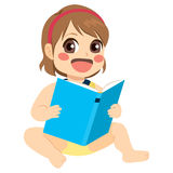 Baby Girl Reading Stock Image