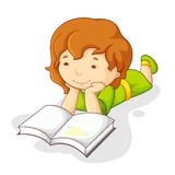 Baby Girl Reading Book royalty free illustration