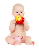 Baby girl with red apple Royalty Free Stock Photo