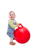 Baby girl and red ball. Littlae baby girl playing red ball, isolated on white Stock Photos
