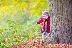 Baby girl in red coat hiding behind big old. Sweet funny baby girl in a red coat and colorful hat and knitted scarf hiding behind a big old tree in a beautiful Royalty Free Stock Image