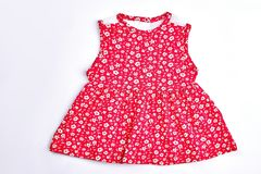 Baby-girl red flower print dress. Royalty Free Stock Photography