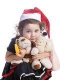 Baby girl in a red new year cap Royalty Free Stock Image