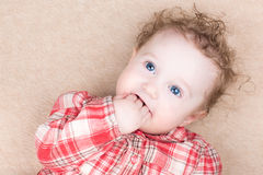 Baby girl in a red plaid shirt sucking on her finger Royalty Free Stock Images